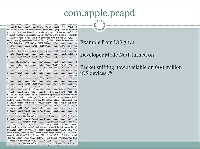 Работа пакетного снифера, встроенного в iOS