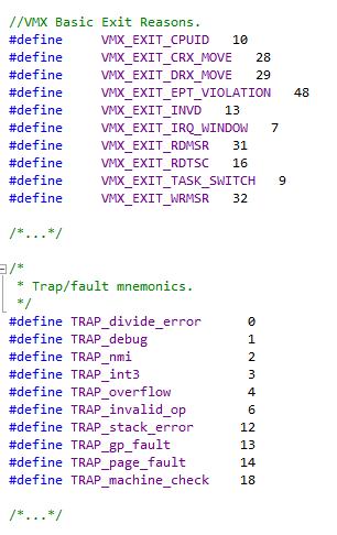 Рис. 6. Некоторые callback'и, предоставляемые Intel VTx