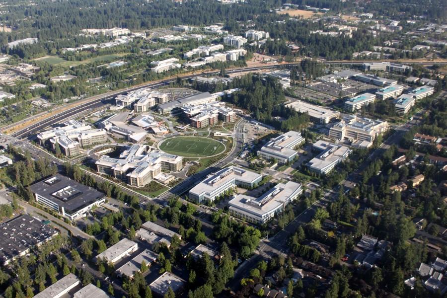 Кампус Microsoft в Редмонде с высоты птичьего полёта