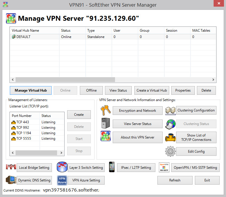 Главное окно SoftEther VPN Server Manager