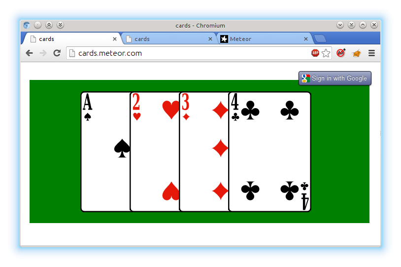 Внешний вид приложения, открытого в браузере