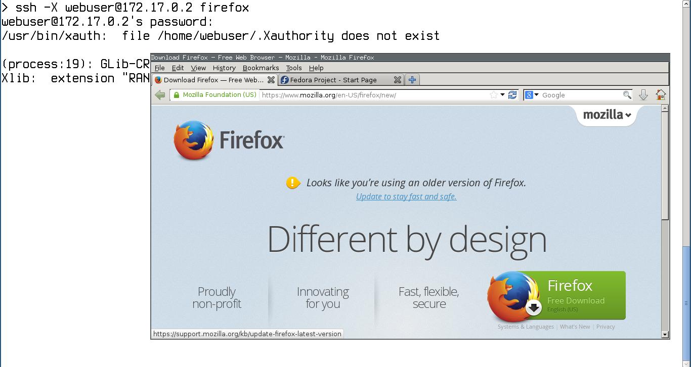 Запускаем Firefox в контейнере через SSH