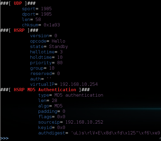 Рис. 4. Пример HSRP с использованием MD5