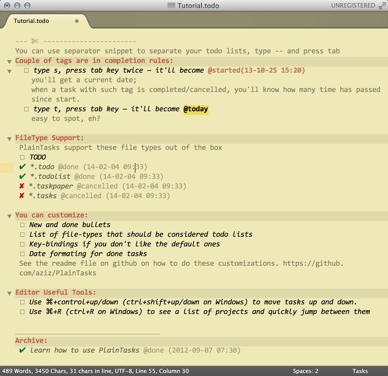 Sublime Text c плагином PlainTasks превращается в планировщик