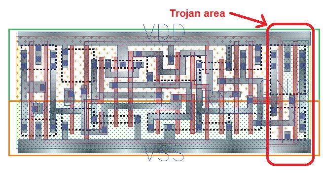 Схема транзистора с указанием части, на которой была изменена маска допанта