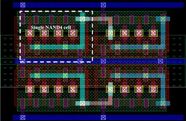 Транзисторы показаны вертикальными красными прямоугольниками, толщина которых 15 нанометров. Ширина интегральной схемы — около 1 микрона