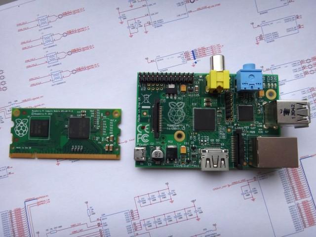 Вычислительный модуль и полноценная плата Raspberry Pi