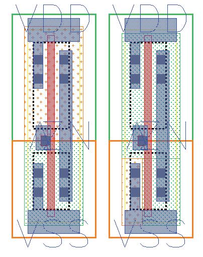 Оригинальный и модифицированный элементы, во втором случае сток транзистора выдает постоянное напряжение VDD