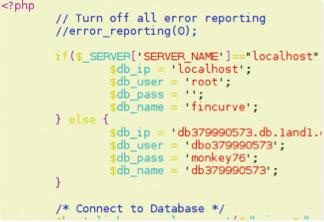 Исходный код серверной части приложения с настройками доступа к БД