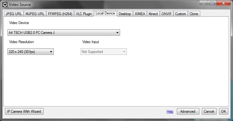 Рис. 7. Выбор веб-камеры