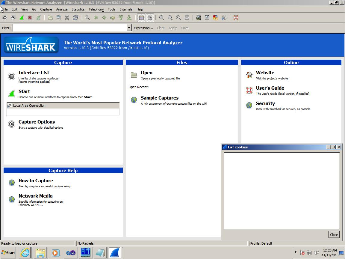 Созданное окно с помощью расширения в Wirehark