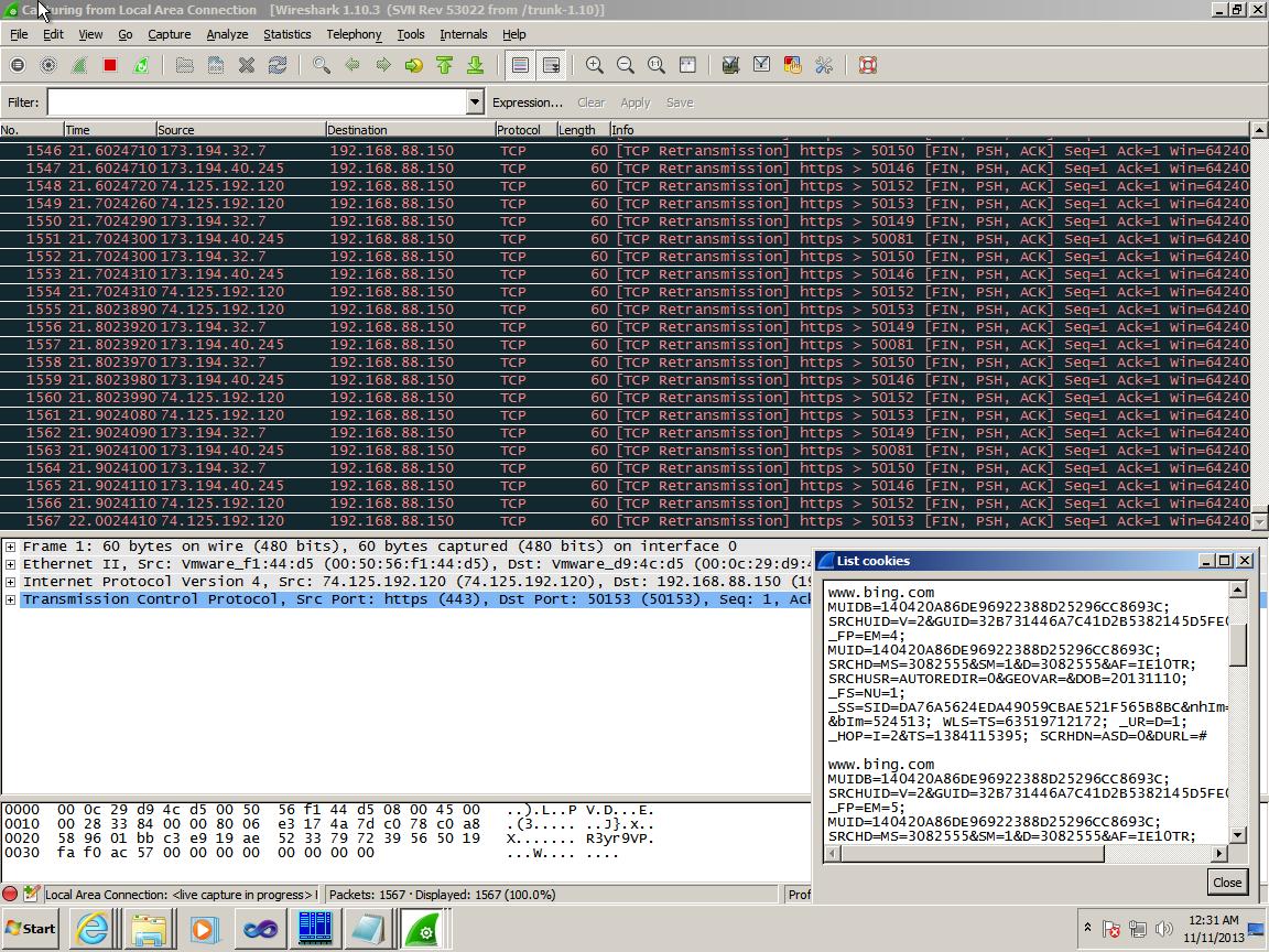 Работа нашего расширения в Wireshark
