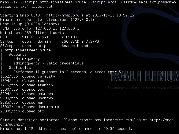 Отчет Nmap-скрипта для брута пользователей LiveStreet CMS