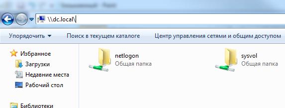 Папки netlogon и sysvol на DC