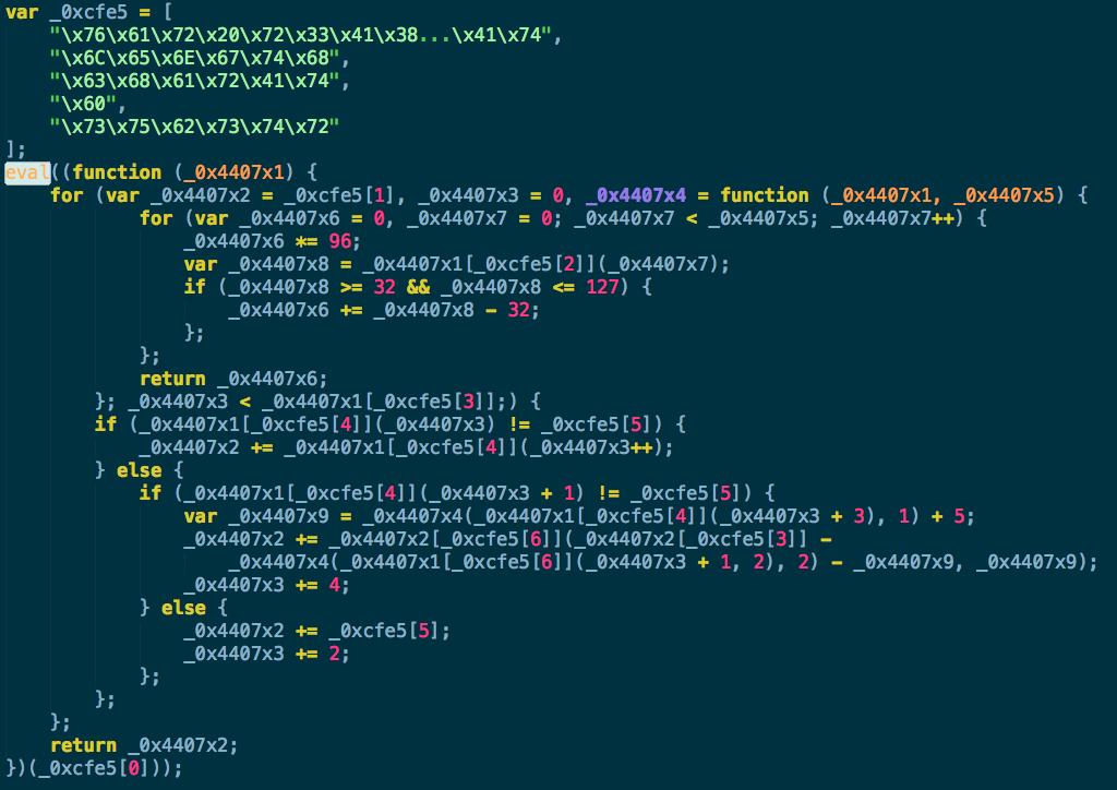 Рис. 1. Первая итерация по деобфускации кода