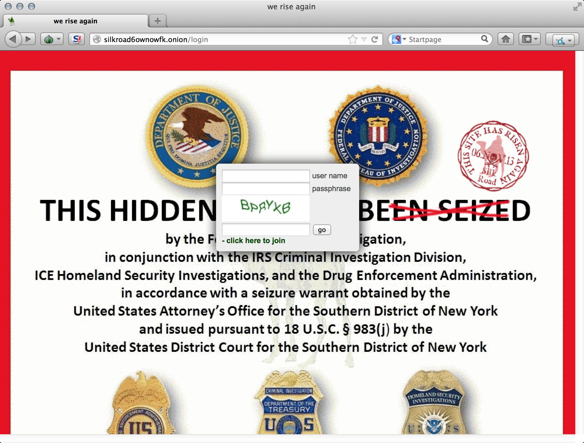 Новый SilkRoad встречает покупателей вот такой издёвкой над заглушкой, которую ФБР повесили вместо прежнего сайта.