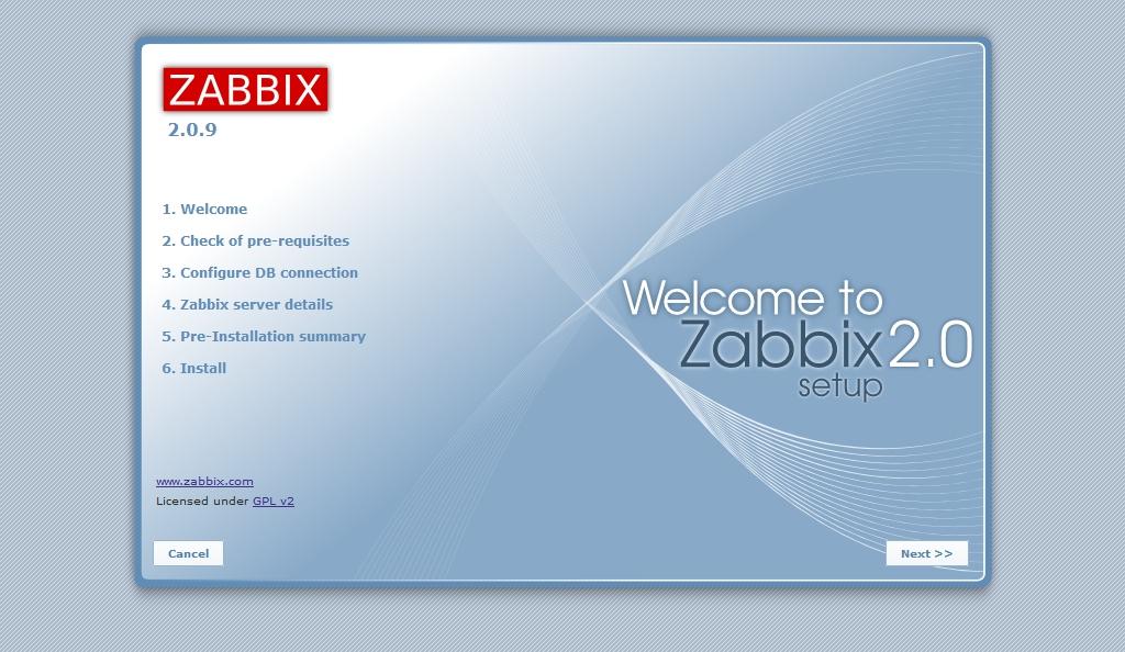 Начальная страница настройки веб-интерфейса Zabbix