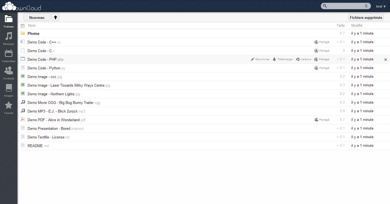 Интерфейс ownCloud организован логично и удобно