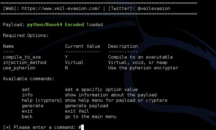 Рис. 2. Меню пейлоада Python/Base64 Encoded
