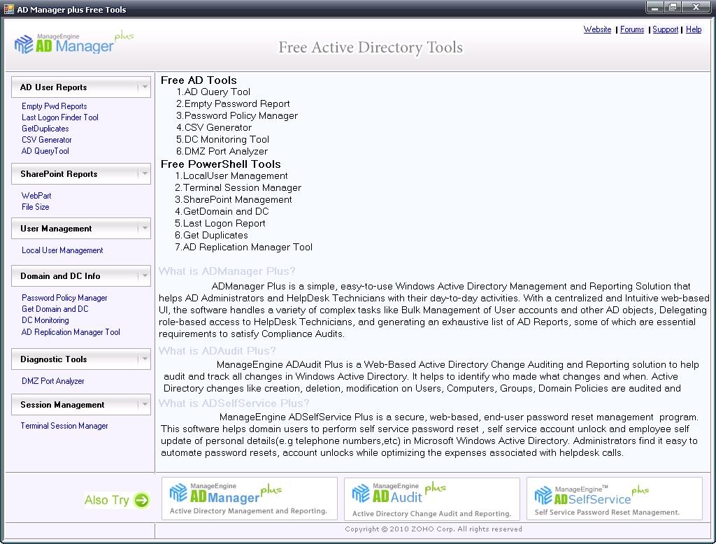 Пакет Free Active Directory Tools содержит 14 полезных утилит для администрирования AD