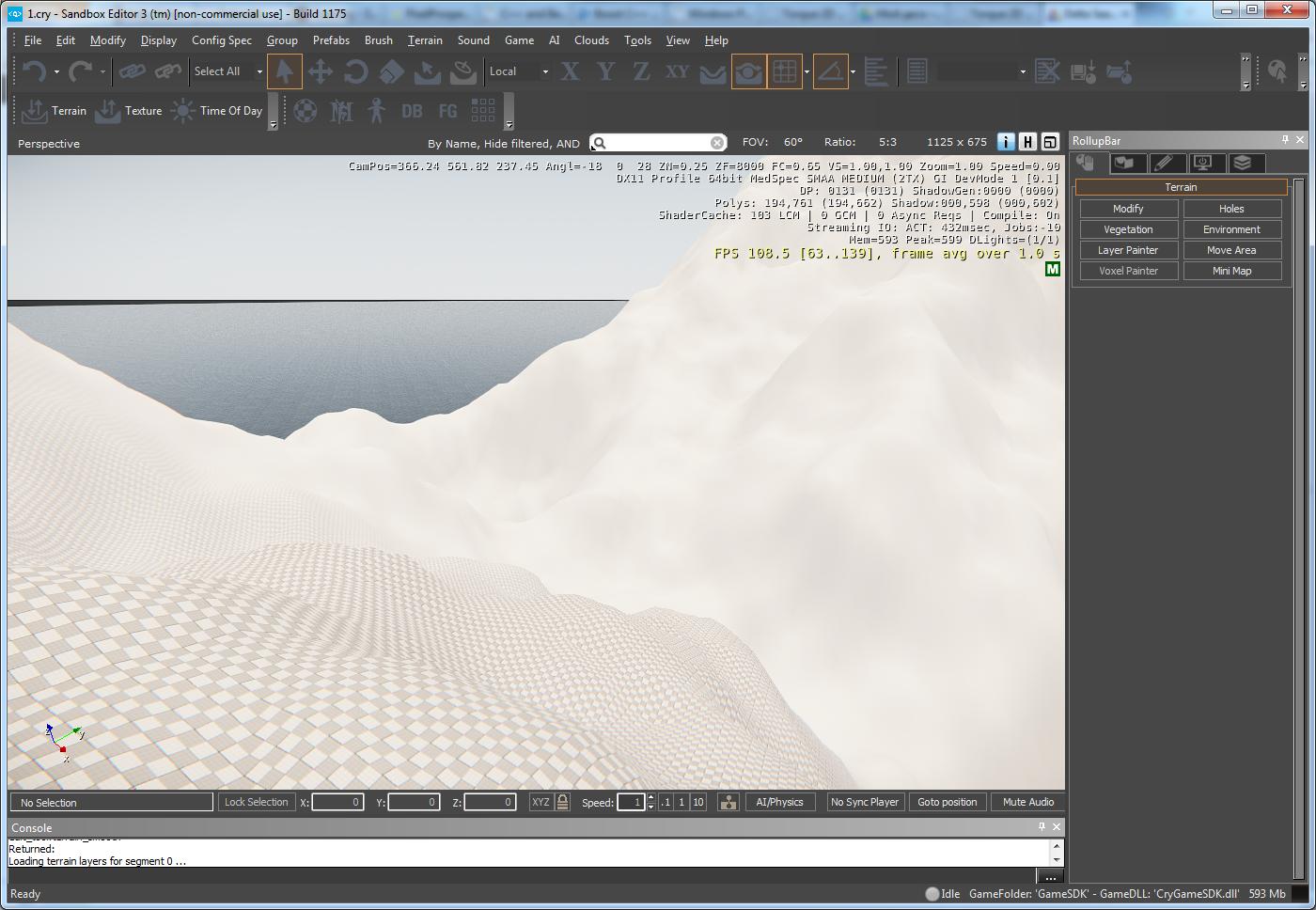 Рис. 2. Sandbox в CryEngine 3