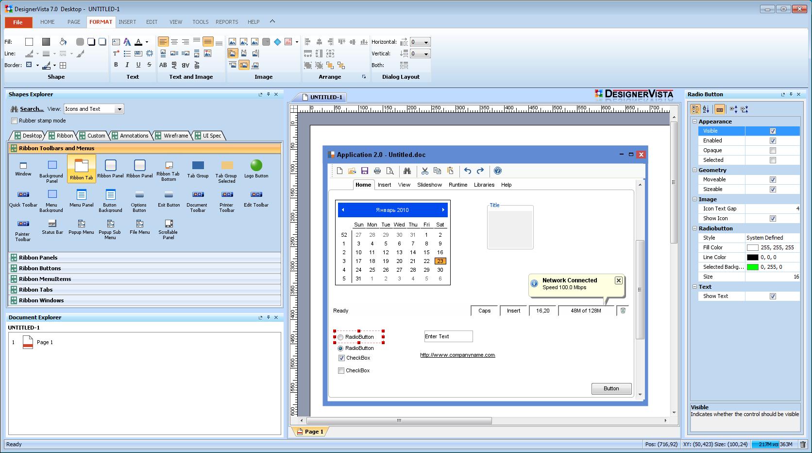 Возможности создания макетов приложений под Windows в DesignerVista mockup tool кажутся безграничными