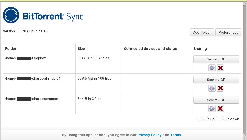 Веб-интерфейс BTSync довольно лаконичен