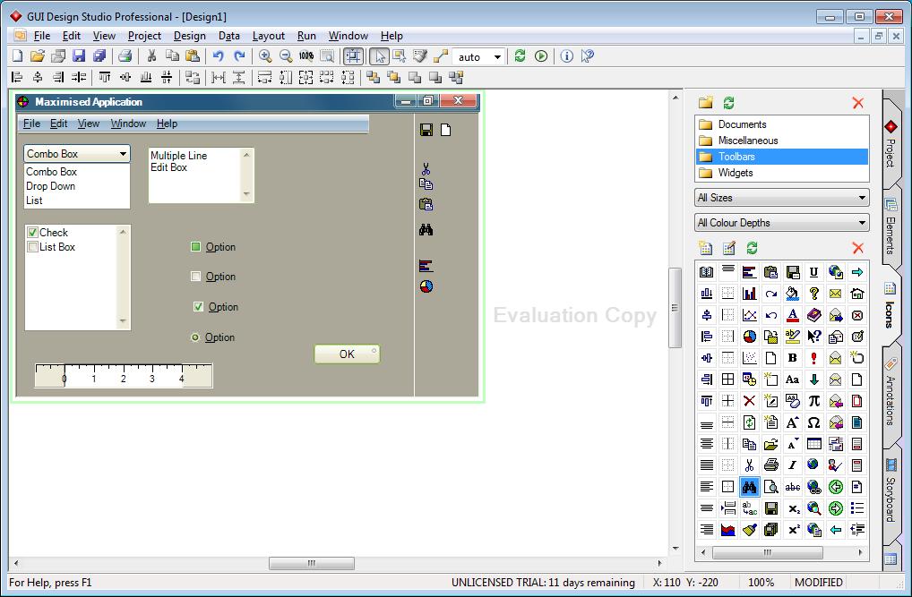 Библиотека Caretta GUI Design Studio не уступает DesignerVista, хотя многие иконки в ней устарели