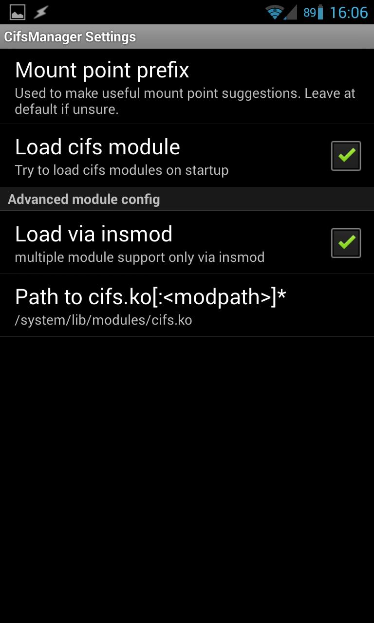 Включаем автозагрузку модуля cifs.ko в CifsManager