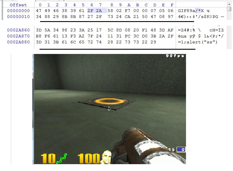 Пример отображаемой GIF c встроенным JS