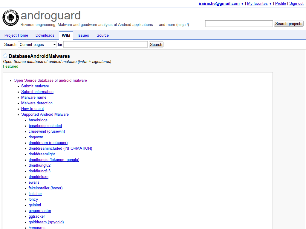 Androguard Google Group
