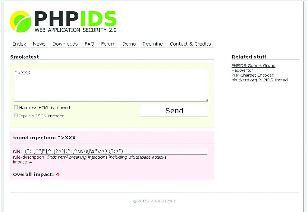 PHPIDS блокирует неправильные PHP-запросы