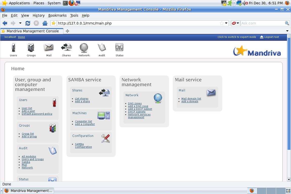 Mandriva Management Console проста и понятна в работе