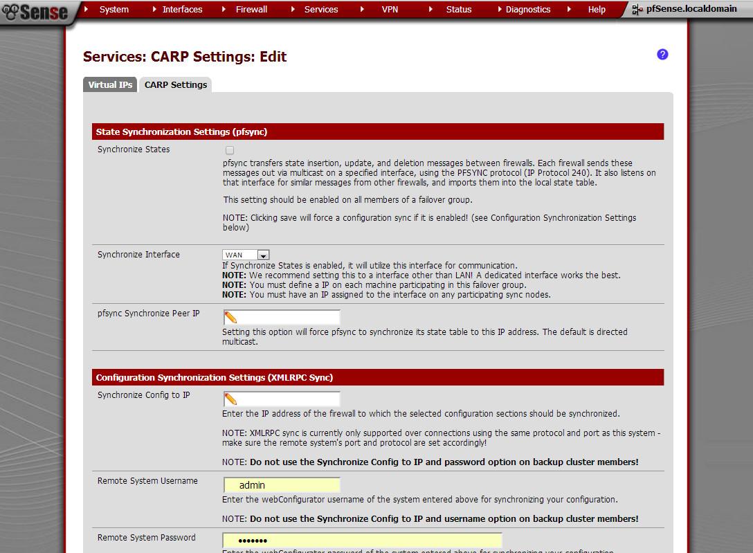 Настройка CARP в интерфейсе pfSense