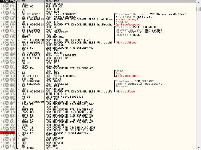 Процесс отладки бажного файла в OllyDbg