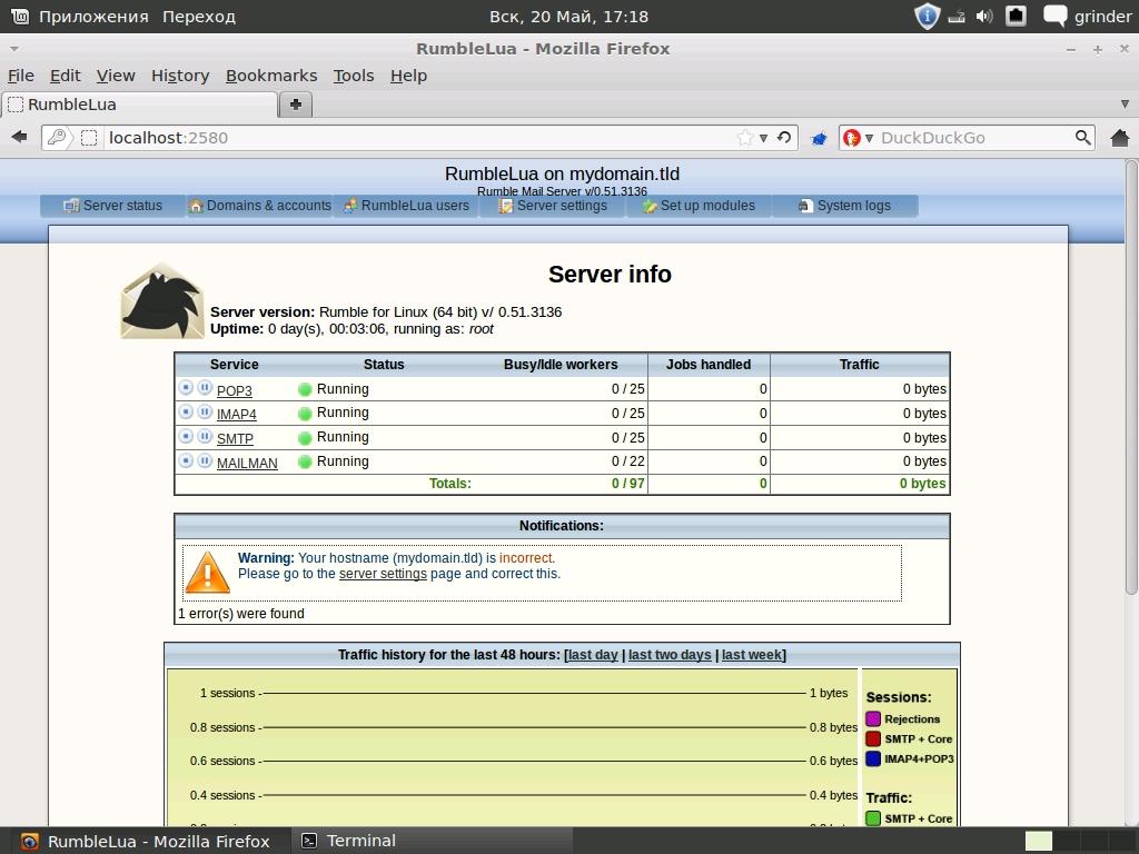 Информация о сервере в веб-интерфейсе Rumble