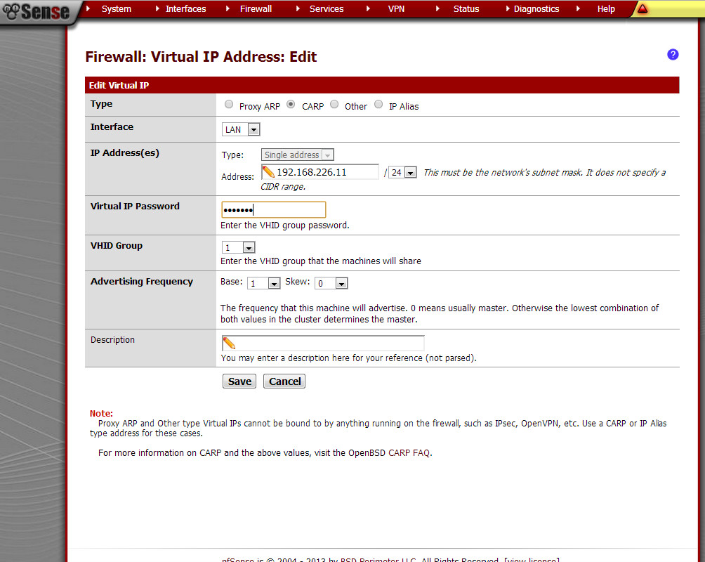 Устанавливаем виртуальный IP в pfSense
