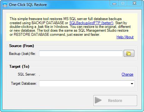Утилита One-Click SQL Restore предназначена для восстановления баз MS SQL