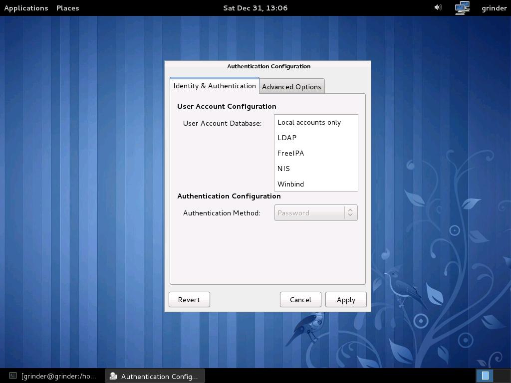 Менеджер аутентификации в Fedora позволяет выбрать FreeIPA
