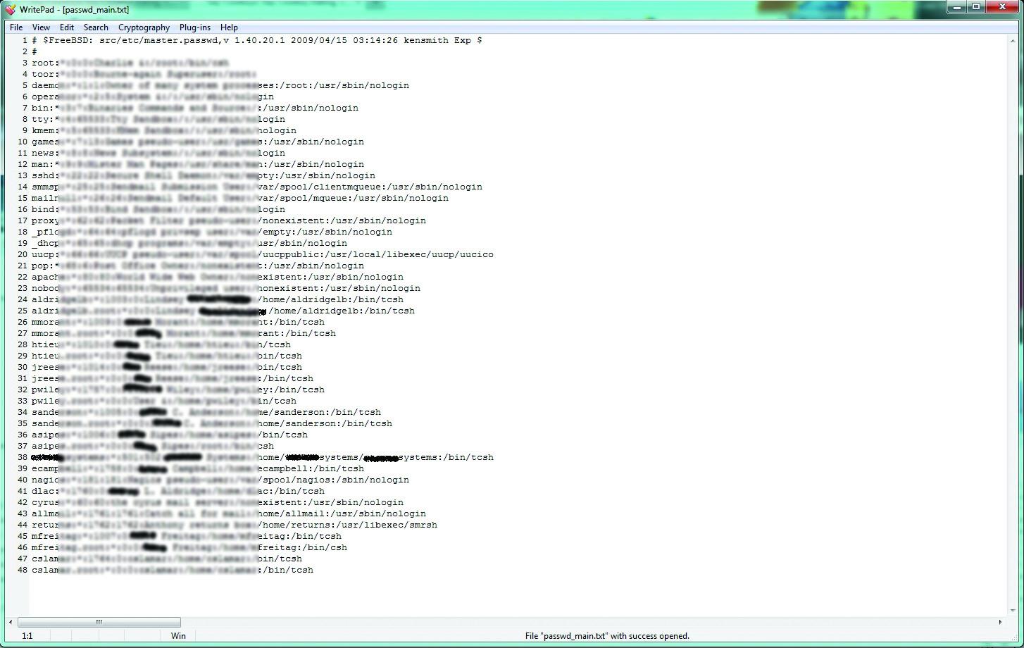 Файл /etc/passwd с целевой машины