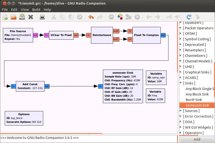 Внешне происходящее в GNU Radio похоже на программирование робота Mindstorms