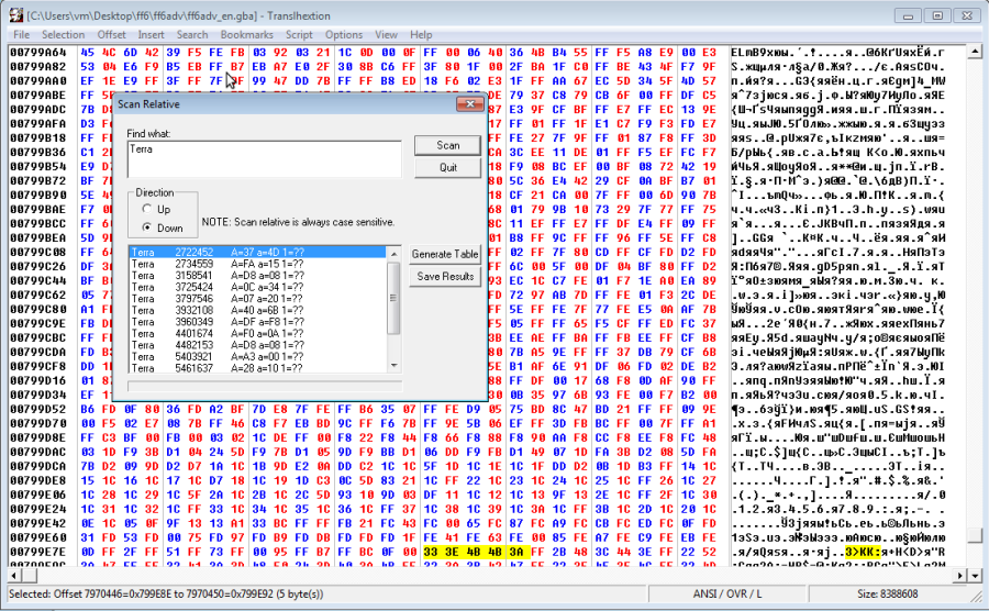 Translhextion — одна из ромхакерских утилит, которая позволяет искать текст в неизвестной кодировке, подбирая ее автоматически путем перебора вариантов. Напомню, что этот прием работает, только если алфавит кодирован по порядку, а текст не запакован