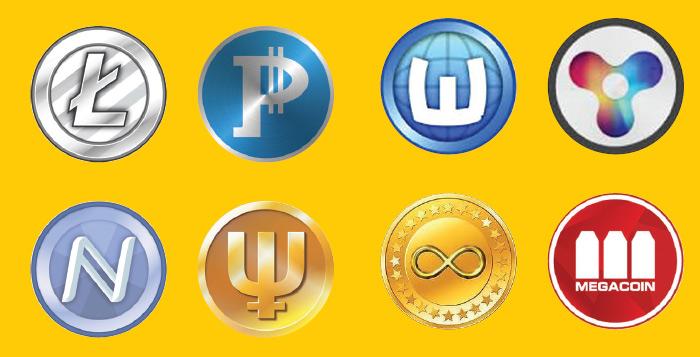 Клонов Bitcoin очень много. Кто сможет по логотипам узнать все криптовалюты? Ну, кроме очевидного LiteCoin