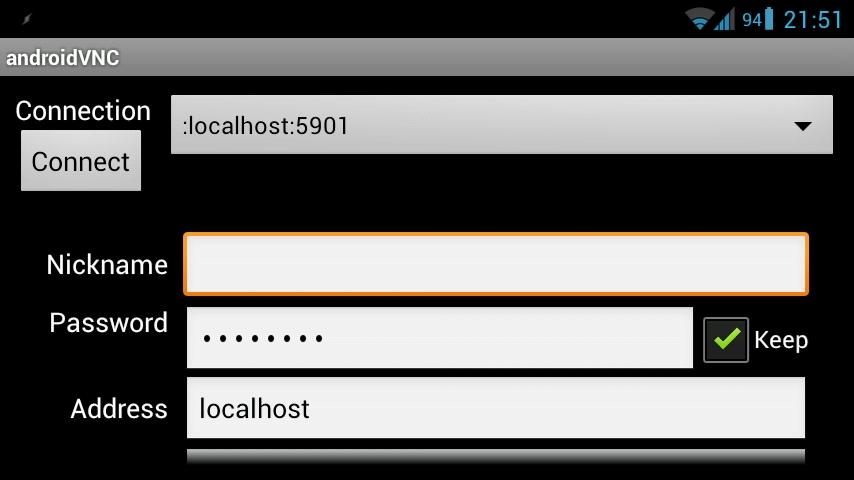 AndroidVNC — подключаемся к рабочему столу