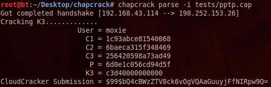 Пример работы приложения chapcrack