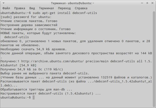 Установка пакета debconf-utils для получения файла ответов на свежеустановленной системе